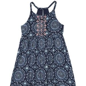 Nautica Navy Floral Embroidery Sleeveless Dress